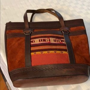 NWOT Leather, Suede and Embroidered Purse